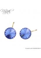 Obrázok pre Pozlátené náušnice Rivoli s modrými kryštálmi Swarovski Sapphire 84f0b3fc290