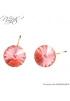 0cf498515 Obrázok pre Pozlátené náušnice Rivoli s broskyňovými kryštálmi Swarovski  Rose Peach